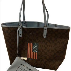 Coach Bags - SALE! Coach Large Tote Reversible American Flag